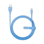 Momax 2.4A 8 Pin Flat Charging Cable, Length : 1.5m (Blue)