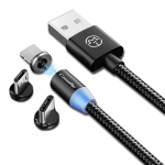 CaseMe 3 in 1 Type-C / 8 Pin / Micro USB to USB Magnetic Charging Cable, Length : 1m (Black)