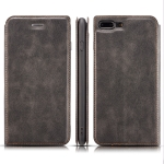 Retro Simple Ultra-thin Magnetic Leather Case for iPhone 7 Plus / 8 Plus, with Holder & Card Slots & Lanyard (Black)