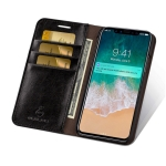 MUSUBO S3 Crazy Horse Texture Horizontal Flip PU Leather Case for iPhone XS Max, with Card Slots & Wallet (Black)