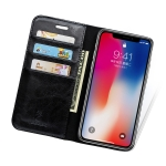 MUSUBO H3 Crazy Horse Texture Horizontal Flip PU Leather Case for iPhone XS Max, with Holder & Card Slots & Wallet (Black)