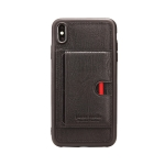 Pierre Cardin PCL-P11 Shockproof TPU + Leather Protective Case for iPhone XS Max, with Holder & Card Slot (Black)