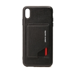 Pierre Cardin PCS-S03 Shockproof TPU + Leather Protective Case for iPhone XS Max, with Holder & Card Slot (Black)