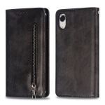 Calf Texture Zipper Magnetic Horizontal Flip Leather Case for iPhone XR, with Wallet & Holder & Card Slots (Black)