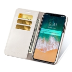 MUSUBO S3 Crazy Horse Texture Horizontal Flip PU Leather Case for iPhone XS / X, with Card Slots & Wallet(White)