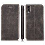 Retro Simple Ultra-thin Magnetic Horizontal Flip Leather Case for iPhone X / XS, with Holder & Card Slots & Lanyard (Black)