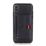 Pierre Cardin PCL-P11 Shockproof TPU + Leather Protective Case for iPhone X / XS, with Holder & Card Slot (Black)