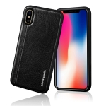 Pierre Cardin PCS-S02 Shockproof TPU + Leather Full Coverage Protective Case for iPhone X / XS (Black)