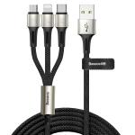 Baseus 3 In 1 3.5A Micro USB + 8 Pin + Type-C / USB-C Charging Data Line, Length : 1.2m(Black)