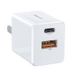 Baseus 18W USB + Type-C / USB-C PPS Travel Quick Charge Charger, Chinese Plug (White)