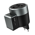 hoco AC4 2.4A Double USB Ports Universal Converter Wall Charger with EU/AU/UK/US Rotating Plug(Black)