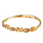Gold-Plated Flower Branches Set with Zircon-Embellished Floral Crystal Bracelet