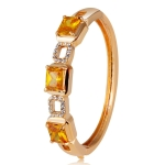 Gold Plated Zircon Inlay Orange Crystal Openwork Square Button Bracelet