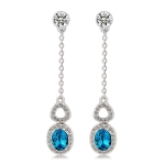 Silver-Plated Inlaid Clear Crystal Chain with Zircon Inlaid Blue Crystal Earring
