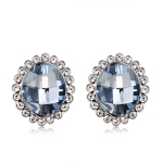 Silver Plated Zircon Inlaid Egg-Shaped Blue Crystal Stud Earrings