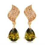 Gold-Plated Leaves with Zircon Pendant Green Drop-Shaped Crystal Earrings