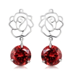 Silver-Plated Openwork Flower Pendant Red Crystal Earrings