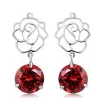 Silver-Plated Openwork Flower Pendant Red Crystal Earrings