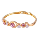 Gold-Plated Twisted Pink Crystal Buckle Bracelet