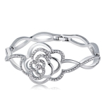 Silver-Plated Openwork Rosette with Zircon Buckle Bracelet