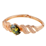 Gold-Plated Wavy Inlaid Zircon Inlay Green Crystal Buckle Bracelet