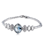 Silver Plated Zircon Inset Egg Shaped Blue Crystal Ripple Buckle Bracelet