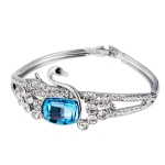 Silver Plated Zircon Inset Egg Shaped Blue Crystal Swan Buckle Bracelet