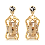Gold-Plated Cutout Shield with Zircon Inlaid Crystal Earrings