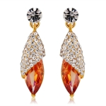 Gold-Plated and Zircon-Inlaid Leaf-Shaped Crystal Earrings
