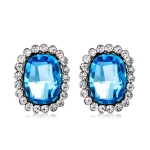 Silver-Plated Zircon-Embedded Biue Crystal Stud Earrings