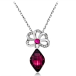 Women Fashion Silver-Plated Openwork Flower Zircon Inlaid Purple Crystal Pendant Necklace