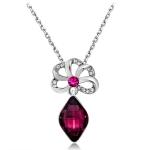 Women Fashion Silver-Plated Openwork Flower Zircon Inlaid Purple Crystal Pendant Necklace