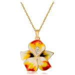 Women Fashion Gold-Plated Drip Flower Inlaid Zircon Pendant Necklace