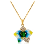 Women Fashion Gold-Plated Drip Flower Inlaid Zircon Inlaid Green Crystal Pendant Necklace