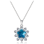 Women Fashion Silver Plated Zircon Flower Inlay Blue Crystal Pendant Necklace