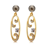 Women Fashion Imitation Grey Pearl Pendant Gold Plated Cutout Zircon Inlay Crystal Drop Earrings