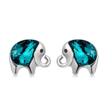 Women Fashion Silver Plated Elephant Inlaid with Blue Crystal Stud Earrings