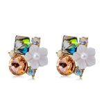 Women Fashion Gold-Plated Inlaid Colored Crystal with White Flower Stud Earrings