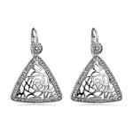 Women Fashion Silver-Plated Openwork Pattern Triangular Zircon Earrings