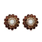 Women Fashion Multi-Layer Crystal Petals Zircon Studs Earrings