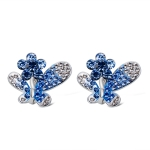 Women Fashion Silver Plated Inlaid Zircon Crystal Flower Butterfly Ear Clip