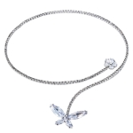 Women Fashion Silver Plated Zircon Necklace with Clear Crystal Butterfly Necklace