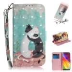 3D Colored Drawing Cats Pattern Horizontal Flip Leather Case for LG Q Stylo 5, with Holder & Card Slots & Wallet