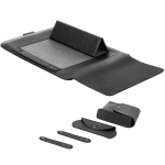 4 in1 2 Winders + Mouse Bag + Charger Bag + Universal Waterproof PU Leather Foldable Laptop Inner Bag for 15 inch Laptops, with Handle & Bracket & Pen Slot (Black)