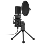 Yanmai SF-777 1.4m Computer Game Recording Condenser Microphone with Pop Filter & Tripod Stand (Black)