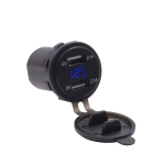 Motorcycle Waterproof 12-24V 2.1A Dual USB Charger Adapter + Voltmeter(Blue Light)
