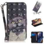 3D Colored Drawing Hug Cat Pattern Horizontal Flip Leather Case for Nokia 9, with Holder & Card Slots & Wallet