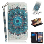 3D Colored Drawing Peacock Wreath Pattern Horizontal Flip Leather Case for Nokia 4.2, with Holder & Card Slots & Wallet