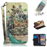 3D Colored Drawing Animals Pattern Horizontal Flip Leather Case for Nokia 4.2, with Holder & Card Slots & Wallet