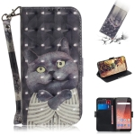 3D Colored Drawing Hug Cat Pattern Horizontal Flip Leather Case for Nokia 1 Plus, with Holder & Card Slots & Wallet